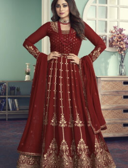 Maroon indian gown design for engagement