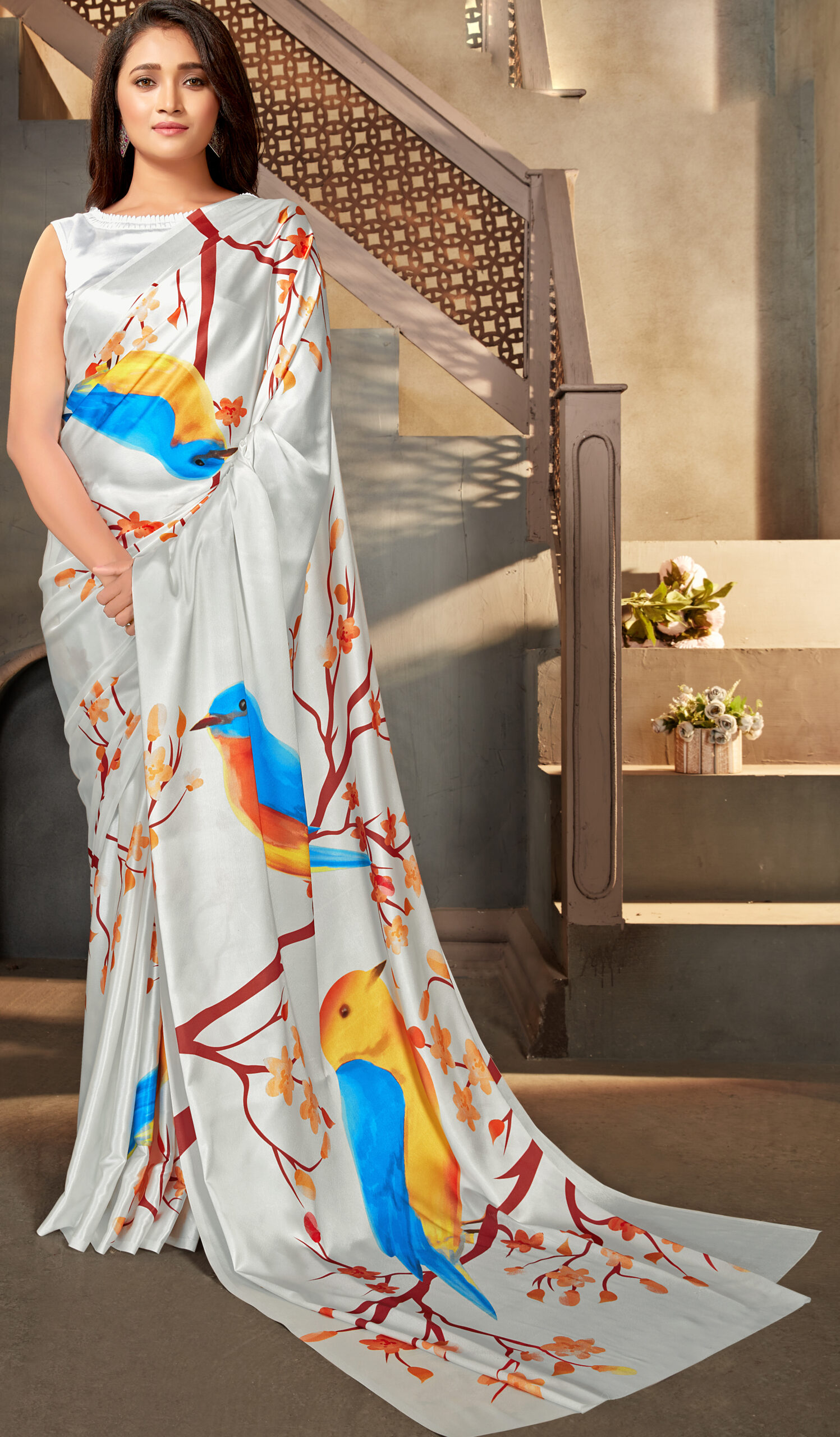 Mew Digital Print Satin Silk Sarees Floral Designer