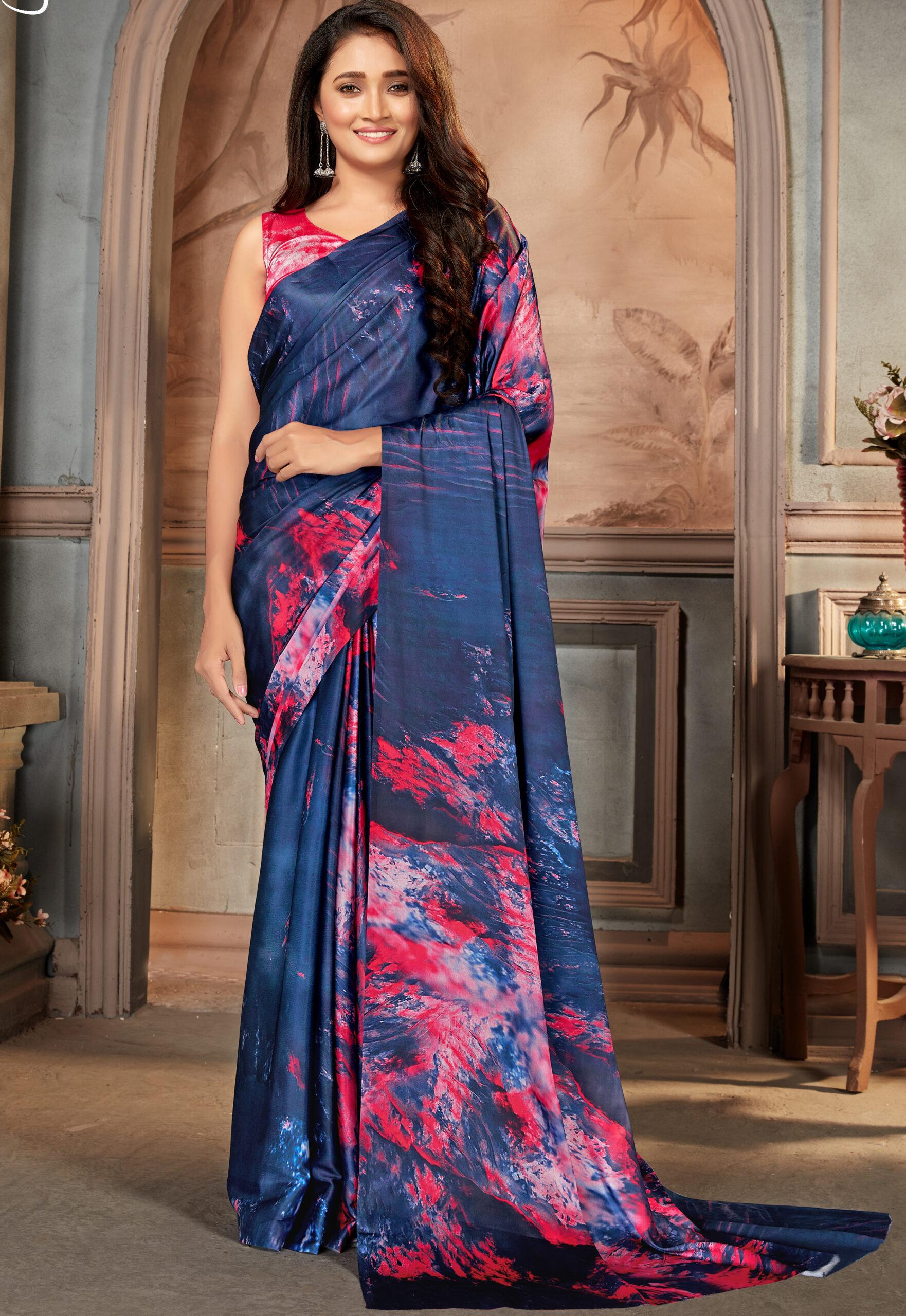 Royal Designer Satin Silk Saree Navy Blue