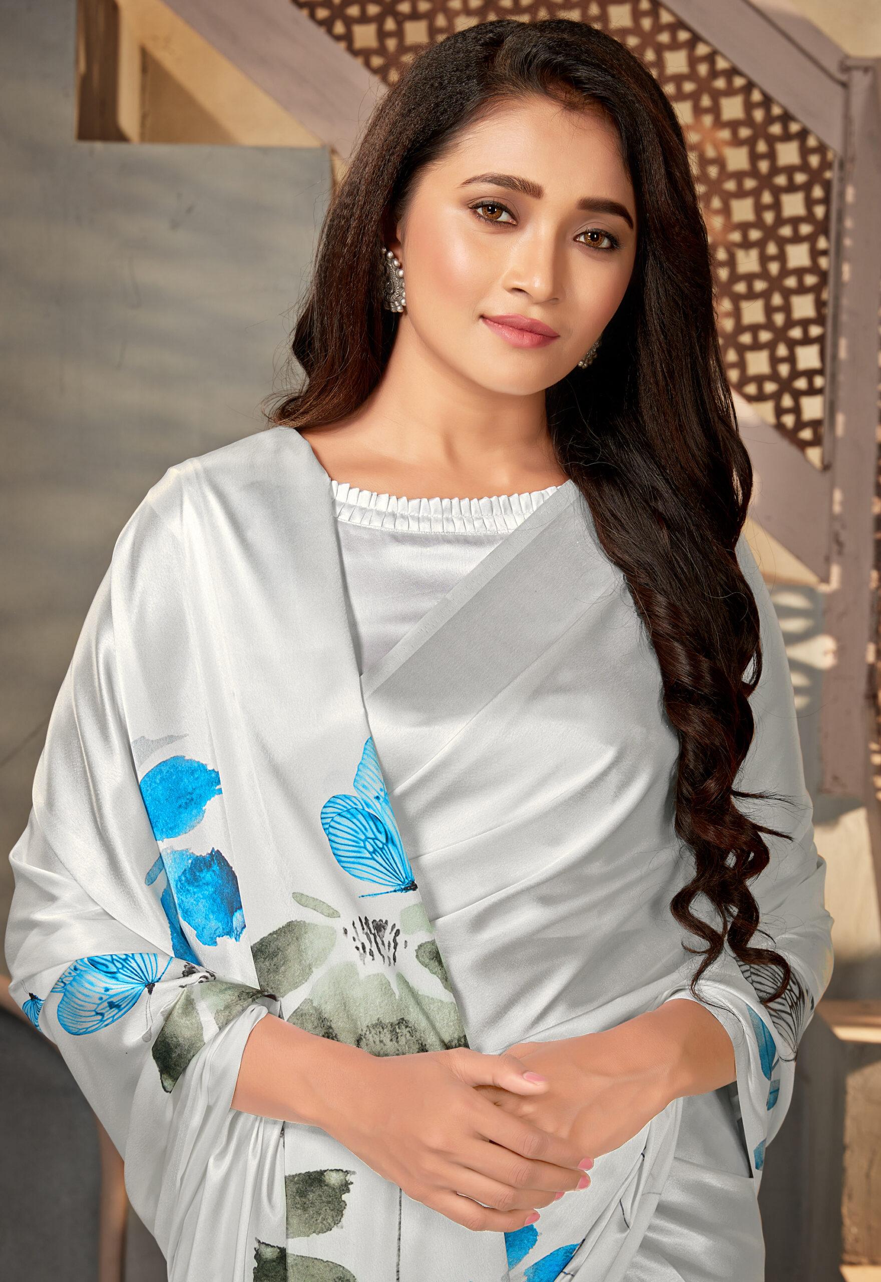 Silver Colour Digital Print Saree Satin Silk