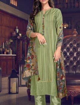Baby Green Colour Latest Heavy Dupatta Suit Images