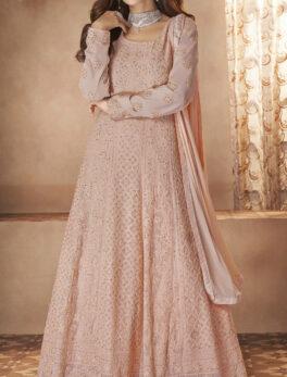 baby pink anarkali suit design for wedding