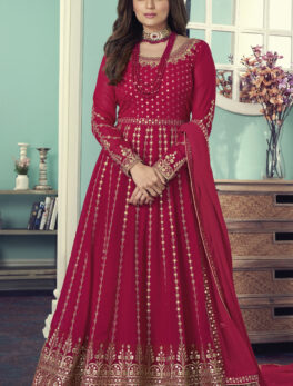 party wear designer red colour embroidery work gown