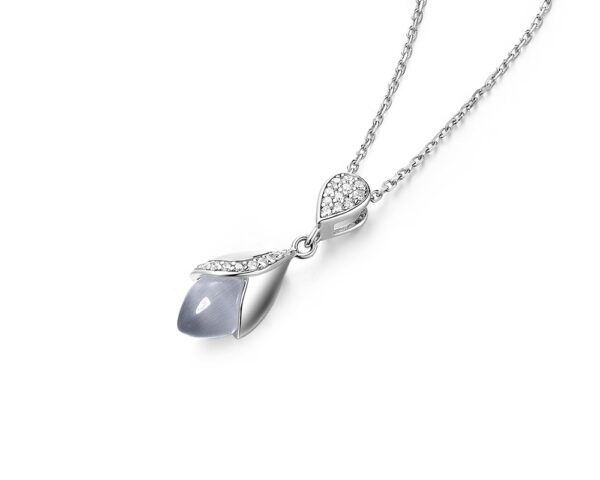 Magnolia cat's eye stone 8 hearts and 8 arrows rhodium plate sterling silver pendant necklace.