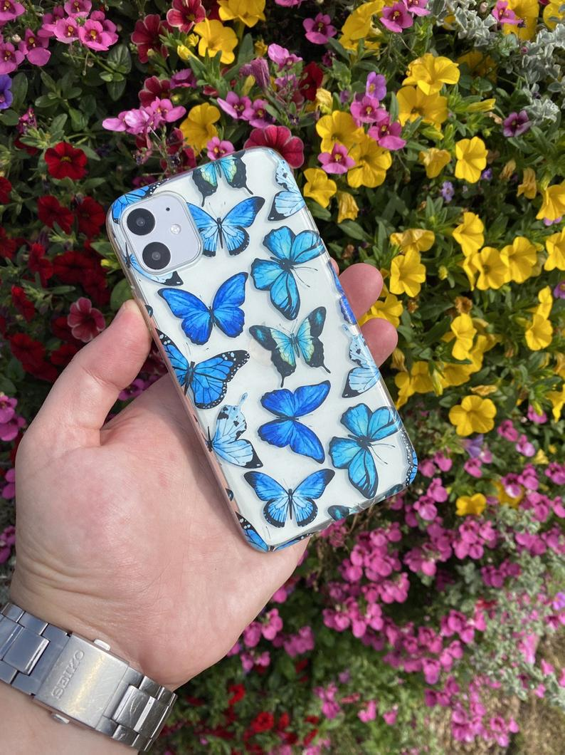 Blue Butterfly iPhone case iPhone 11 Case iPhone 11 Pro Max Case iPhone XR Case iPhone XS Case iPhone XS Max Case