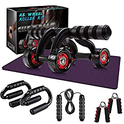 Cyezcor Ab Roller Wheel, 6 Pcs Ab Wheel Roller Kit with, Jump Rope, Push-Up
