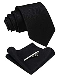 JEMYGINS Solid Color Cashmere Wool Tie and Pocket Squre with Te