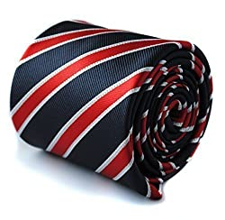 Frederick Thomas navy tie with red and white stripes