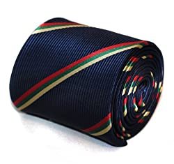 Frederick Thomas navy with green, yellow and red striped tie