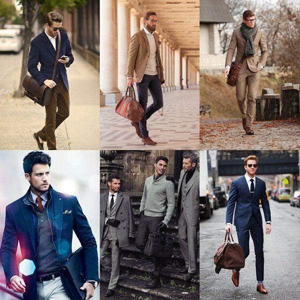 Men carrying leather messenger bag