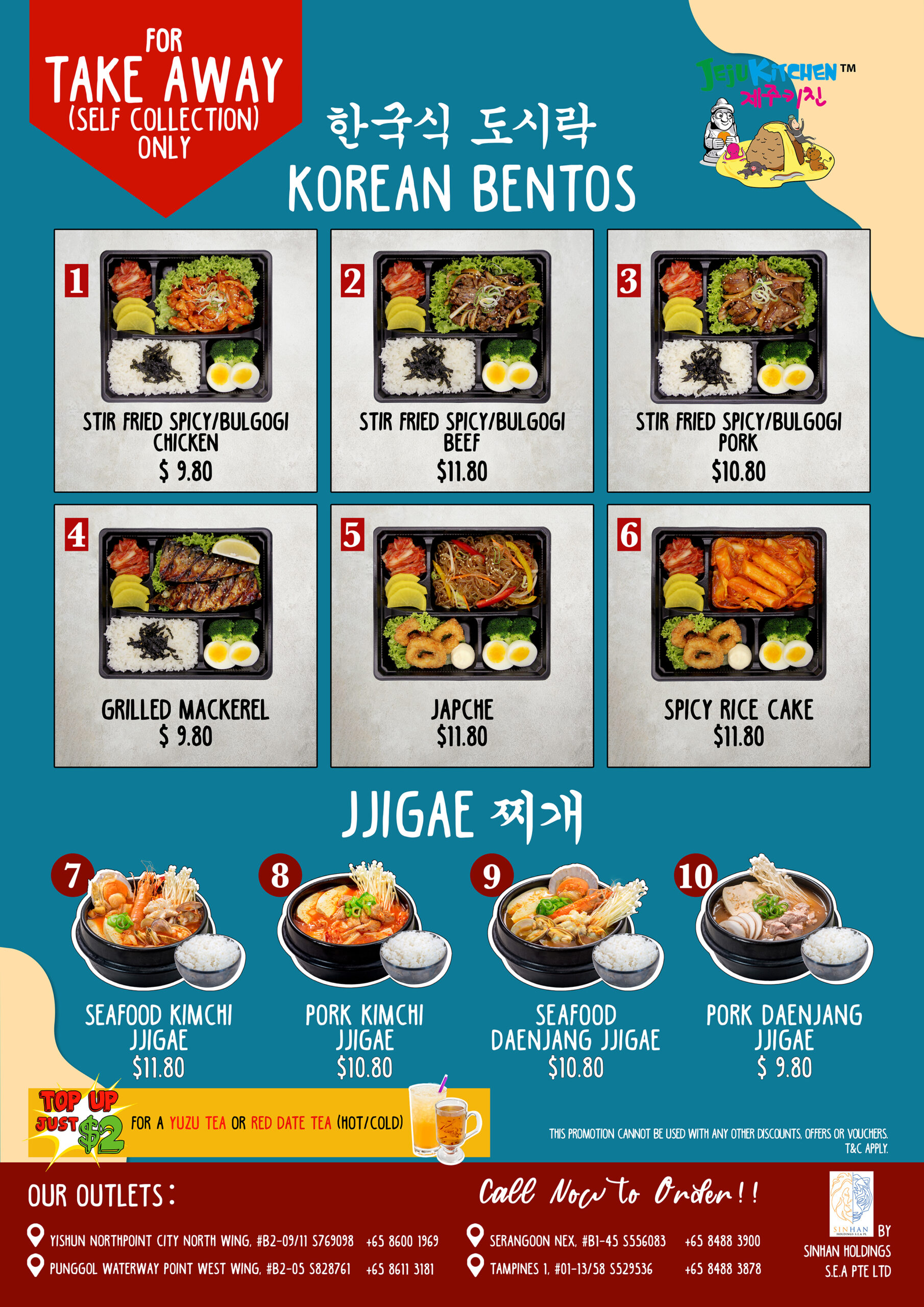 ❣️KOREAN BENTOS & JJIGAES are selling at all our Jeju Kitchen Outlets❣️