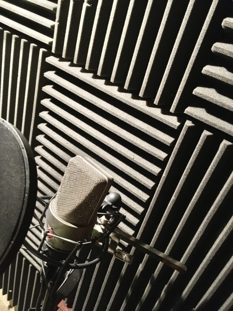 Photo of Neumann microphone in studio