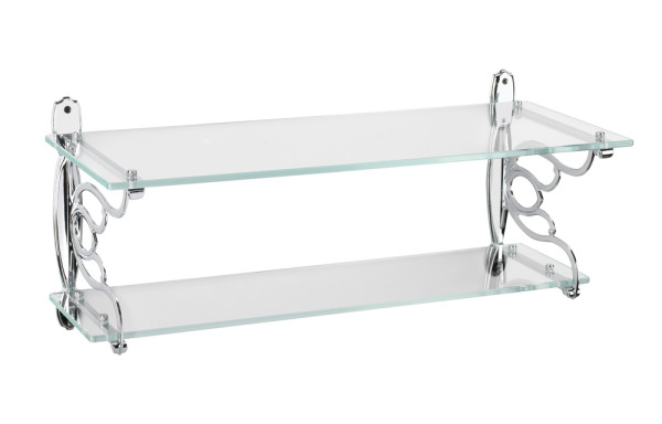 12136A40 Wall mounted double glass bath shelf