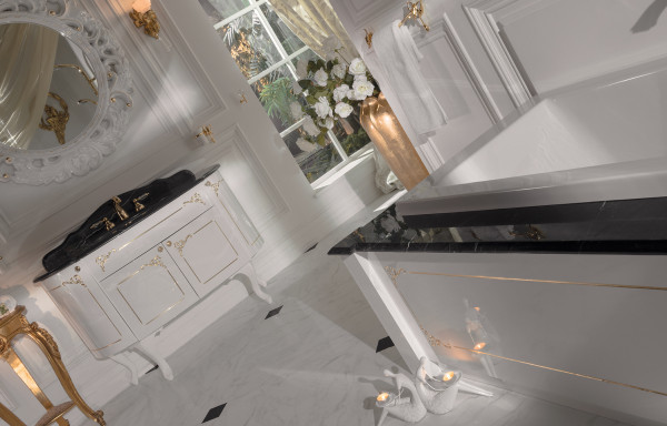 BELLO WHITE WITH GOLD PATTERN VANITY