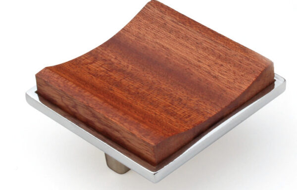Silver square knob with wood