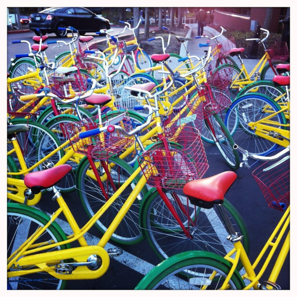 Lots of bicycles on city street