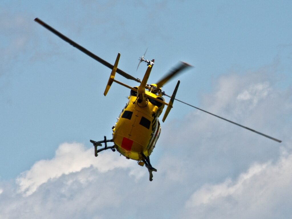 Helicopter flying in the sky