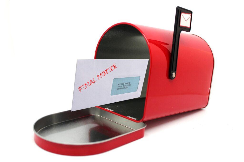 Final bill notice in mailbox