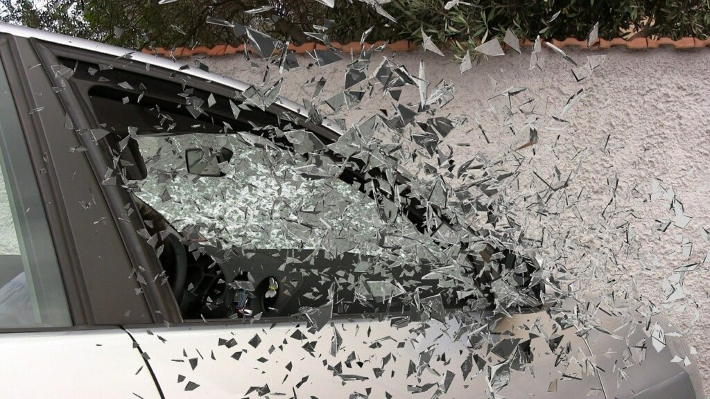 Car glass shattering in car accident