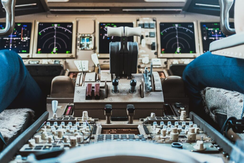 Close up of the control panel of an airplane