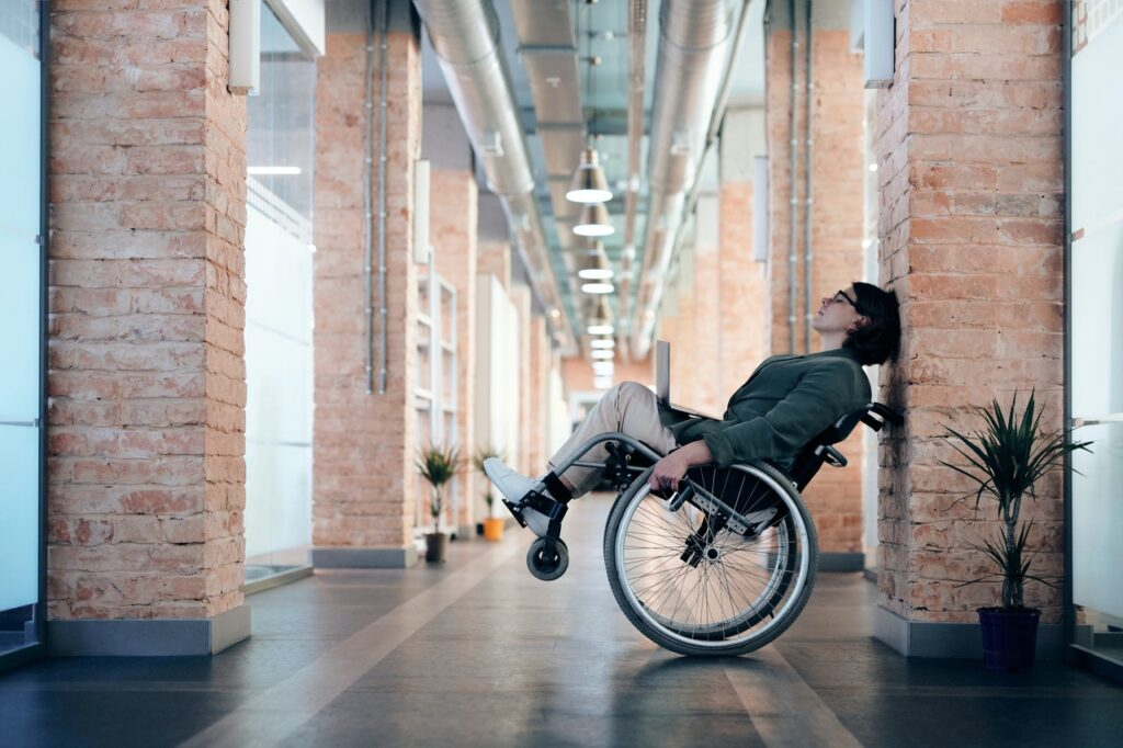Woman in wheelchair - spinal cord injury