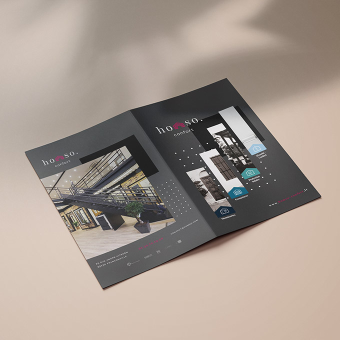 SHOWROOM MENUISERIE Identité Visuelle • Brochure • Panneaux • Cartes de Visite
