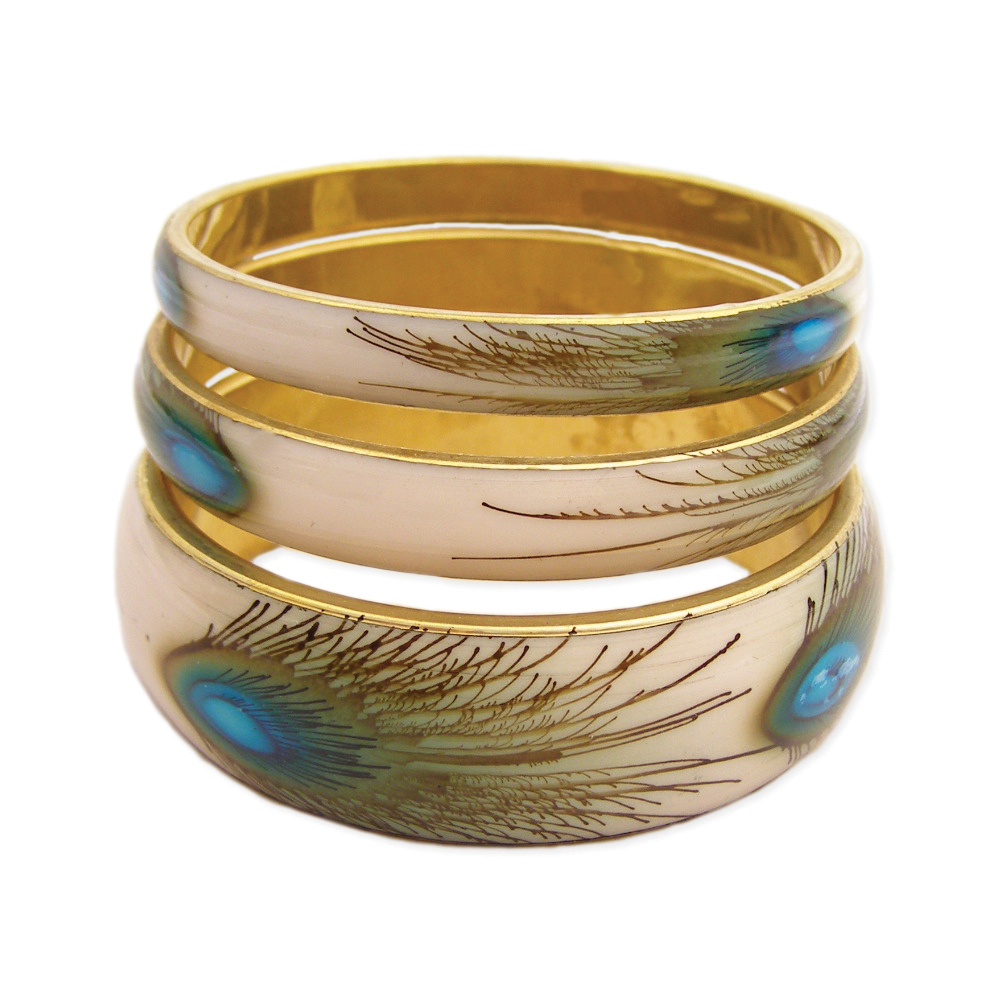 gold metal, resin blue peacock feather print design bangles