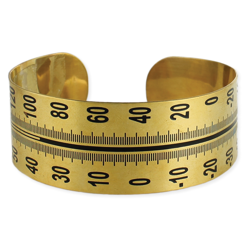 Thermometer cuff. Gold-plated bracelet with thermometer design etched in black enamel.