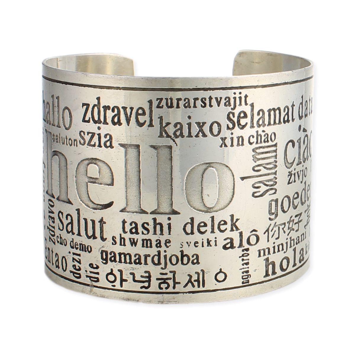 The Hello Cuff. Silver cuff bracelet with the word hello in English and several other languages.
