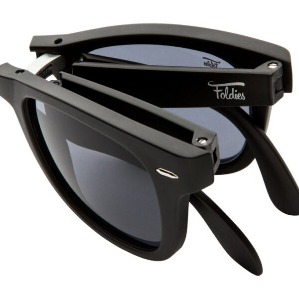 Matte black sunglasses with black lenses. Folding sunglasses.