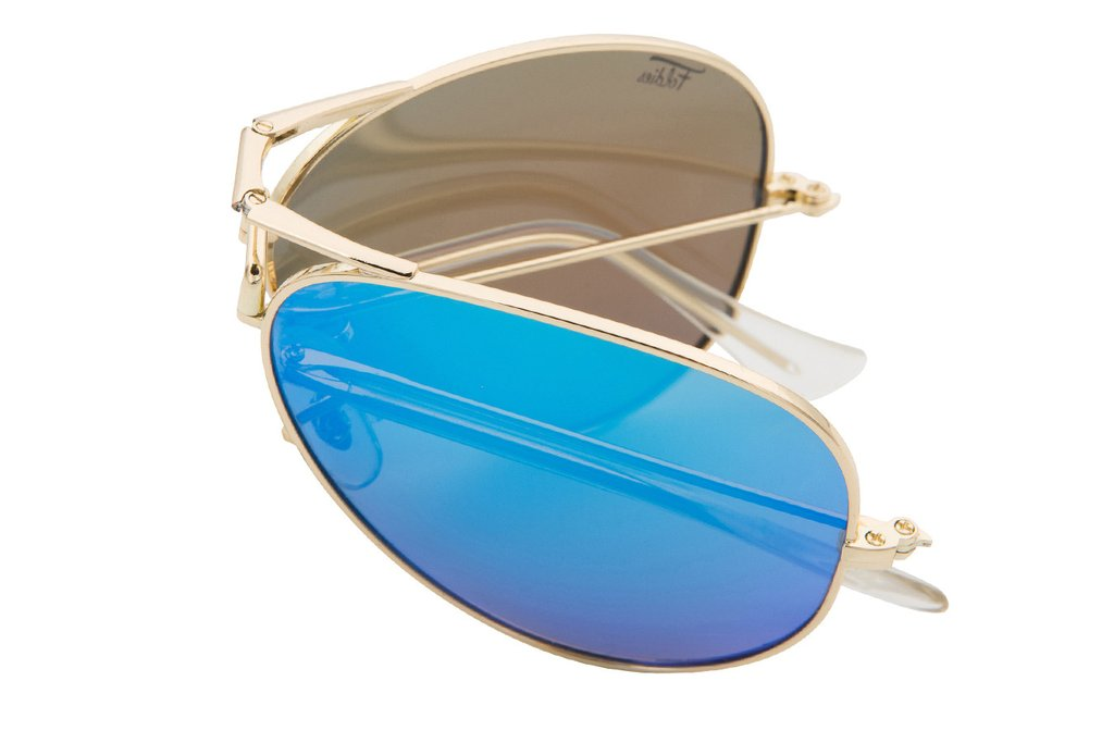 Blue aviator sunglasses with a gold frame. They fold to carry in it's own travel case.