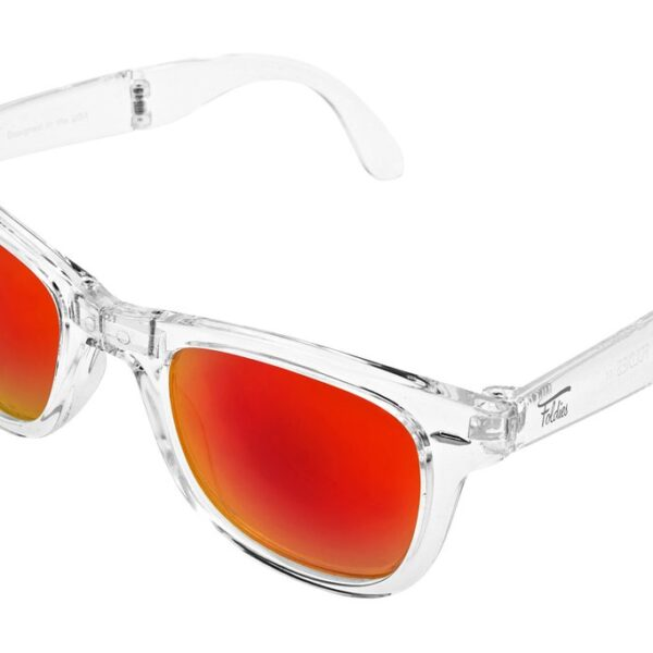 Folding sunglasses with clear frames and red lenses.