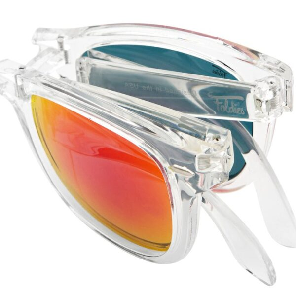 Red sunglasses with clear frame. They fold for easy carrying convenience.