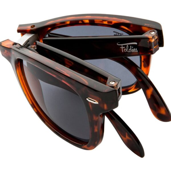 Tortoise shell sunglasses with black lenses. Sunglasses fold for easy carrying convenience.