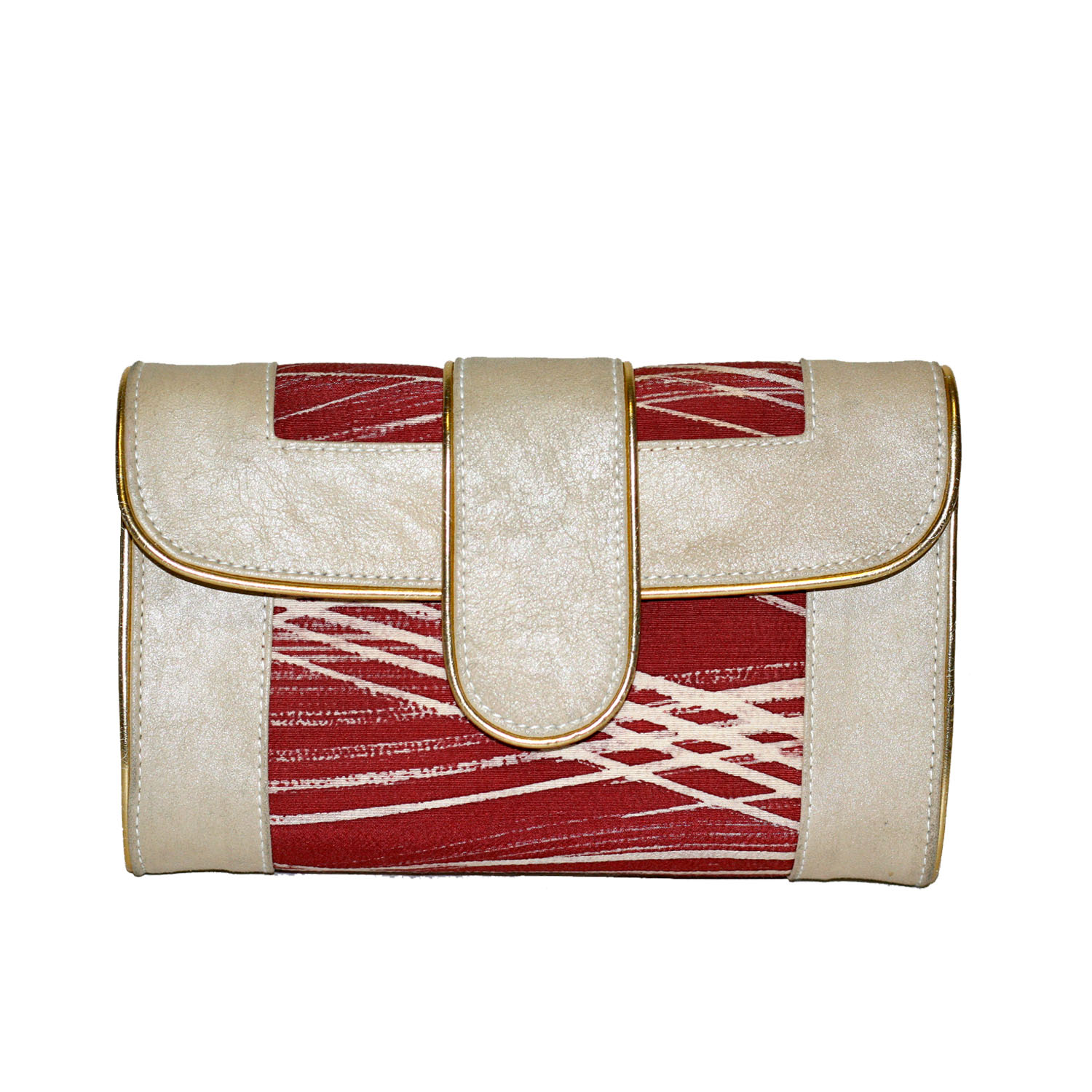 Hermosa paint stroke clutch/crossbody. Off white and burgundy. Made with leather and a vintage kimono. Snap closure. Detachable gold chain strap.