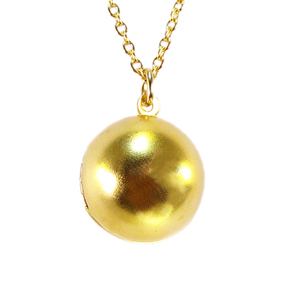 14-karat gold-plated golden orb locket necklace