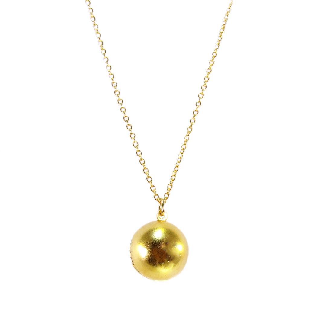 Golden orb locket necklace