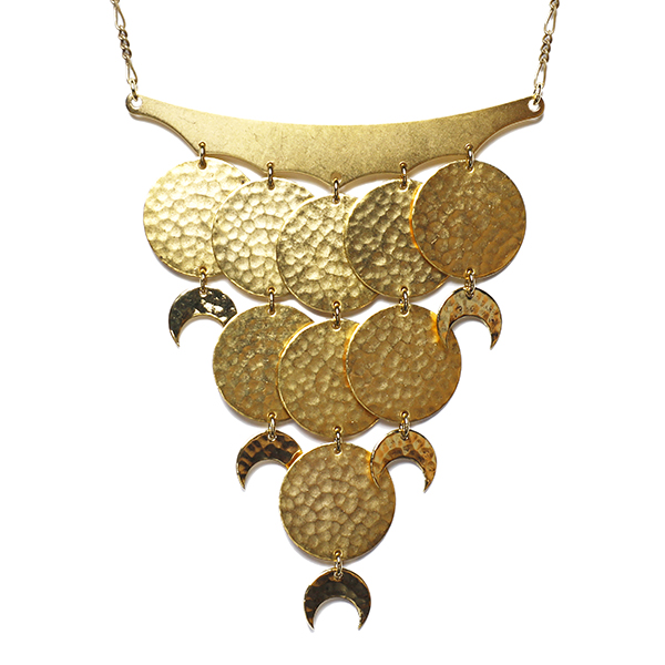 Moon phase cascade necklace is a statement necklace that is 24-karat gold-plated with a Figaro chain.
