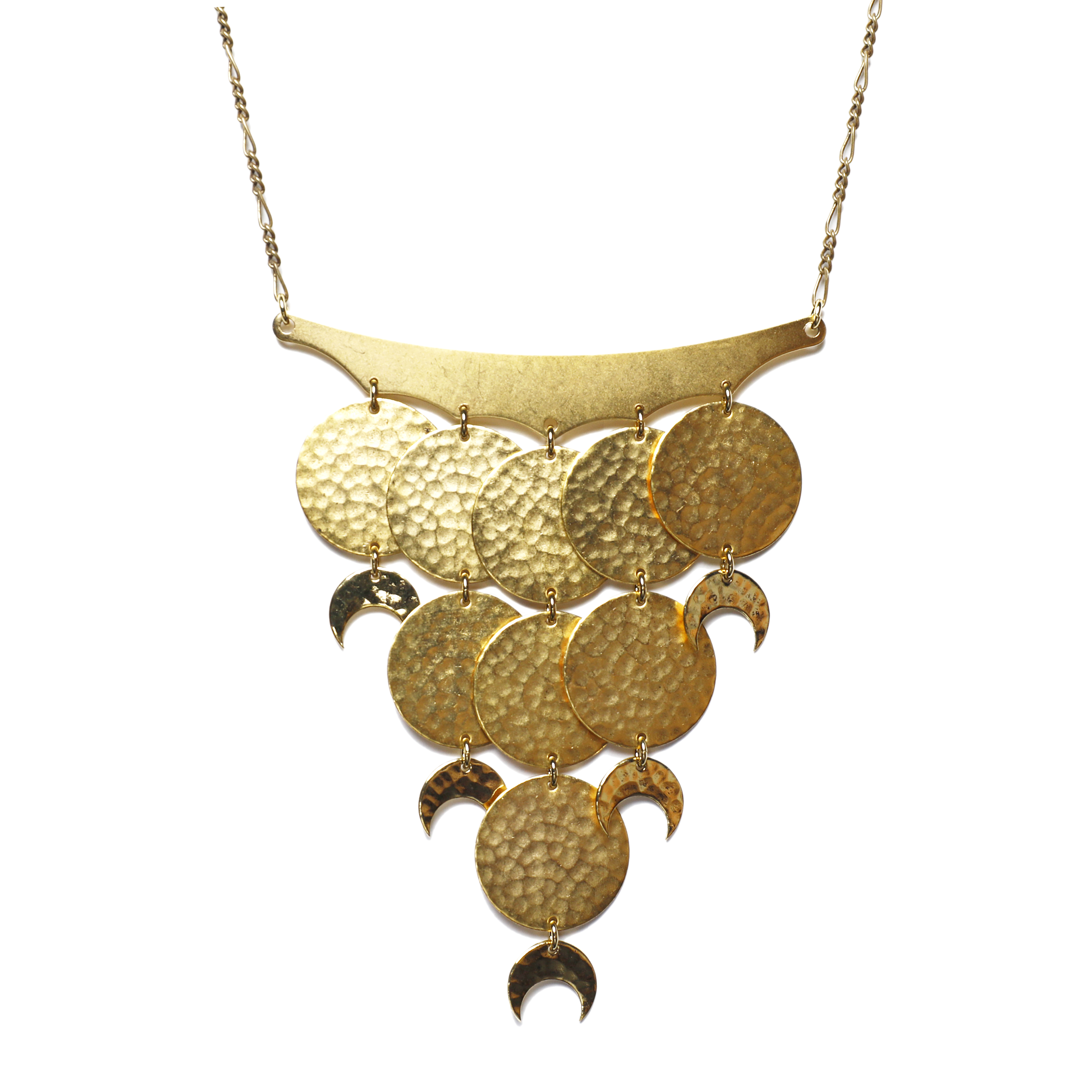 Moon phase cascade necklace. Gold statement necklace with circles and crescent moons.
