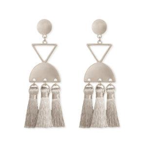 Silver geometric tassel earrings