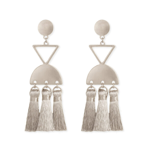Silver geometric tassel earrings
