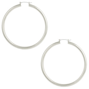 Oversized silver hoop earrings (50mm)