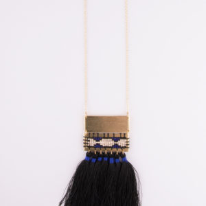 boho tassel necklace long black