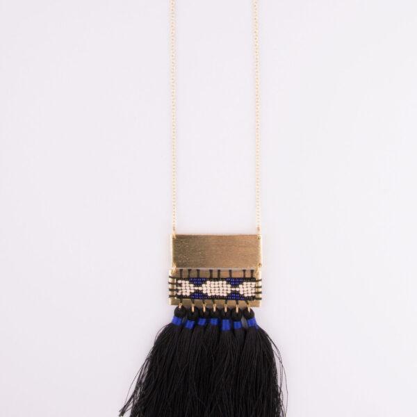 boho tassel necklace long black