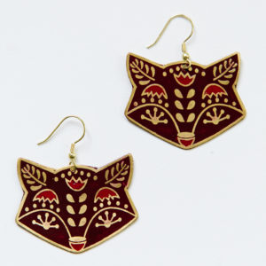 fox trot earrings in burgundy