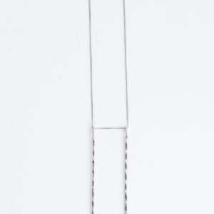 silver necklace with rectangle pendant
