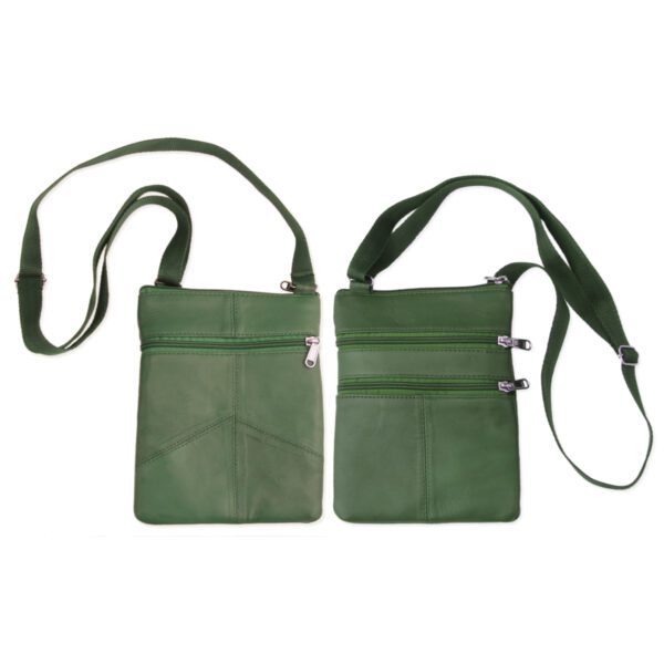 Green leather passport bag