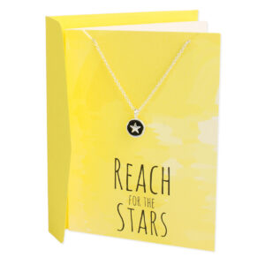 Greeting card necklace with Reach for the Stars message. Silver plated necklace with star charm.