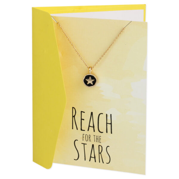 reach for the stars gift card necklace in gold