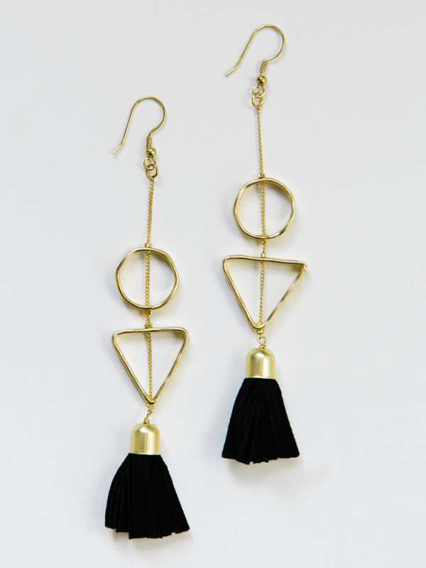 gold earrings with suede black tassels